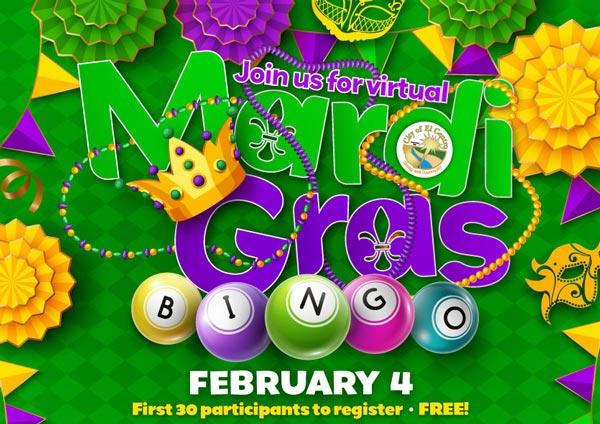 Mardi Gras Virtual Bingo 2021